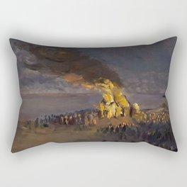 Summertime Shore Dinner and Beach Bonfire landscape painting by Helga Ancher Rectangular Pillow