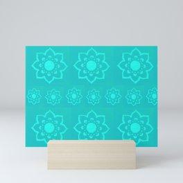 Flower Mandala Block Print Style Print Mini Art Print