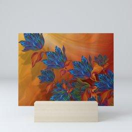 """Blue flowers on orange silk"" (Air Spring at night) Mini Art Print"