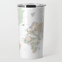 "World map with cities, ""Anouk"" Travel Mug"
