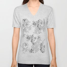 PEACOCK LILY TREE AND LEAF TOILE GRAY AND WHITE PATTERN Unisex V-Neck