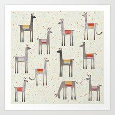 Llamas in the Meadow Art Print