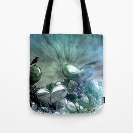 Lost Hearts in Blue, Digital Art Tote Bag