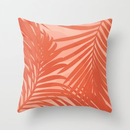 Terracotta Palm Leaves / Sunset Illustration Throw Pillow