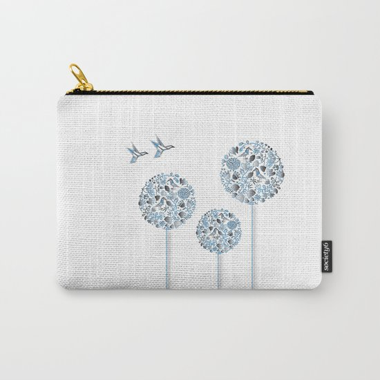 Blue Trees With Birds Carry-All Pouch