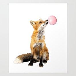 Fox Blowing Bubble Gum - Digital Image Art Print