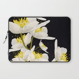 White Flowers On A Black Background #decor #buyart #society6 Laptop Sleeve