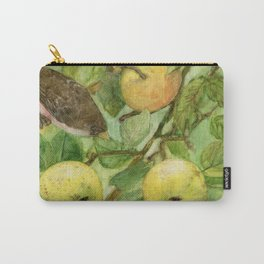 Bird in Apple Tree with Apples - Watercolor on Panel - Laurie Rohner Carry-All Pouch