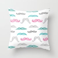 moustache Throw Pillows featuring Moustache by Eloise Roberts