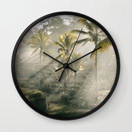 Morning Light Rice Fields Wall Clock