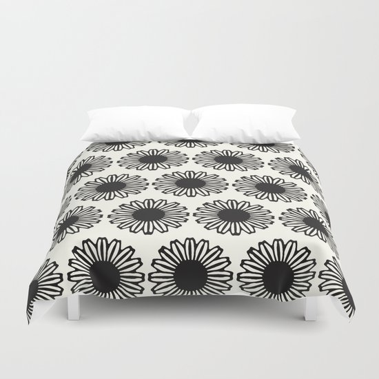 vintage flowers black Duvet Cover