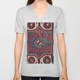 Cartouche Star II // 19th Century Colorful Red Blue Western Santa Fe Cowboy Style Ornate Accent Patt Unisex V-Neck