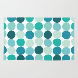 Midcentury Modern Dots Blue Rug