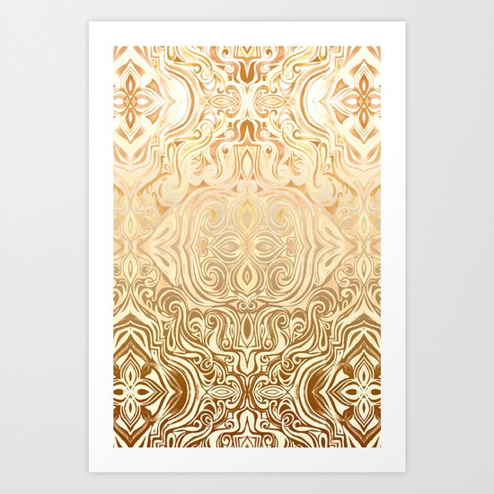 Tribal Swirl Pattern in Neutral Tan and Cream Art Print