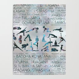 Yoga Asanas / Poses Sanskrit Word Art  Labradorite on pearl Poster