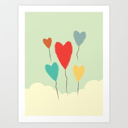 Heart Balloons above the Clouds Art Print