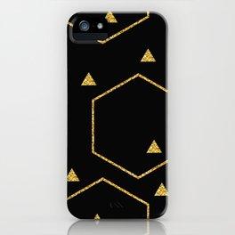 Golden Glitter Design Black Geometric Intrigue iPhone Case