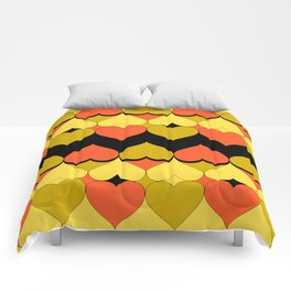 Multi Hearts Chartreuse Tangerine Black Comforters