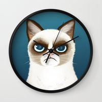 grumpy Wall Clocks featuring Grumpy by StudioMarimo