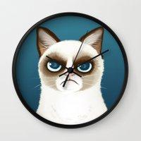 grumpy Wall Clocks featuring Grumpy by StudioMarimo