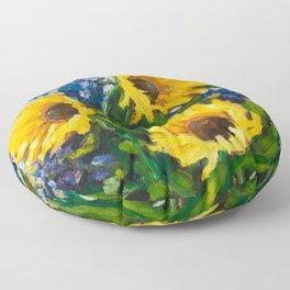 Sunflowers Oil Painting Floor Pillow