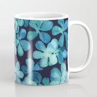 stickers Mugs featuring Hand Painted Floral Pattern in Teal & Navy Blue by micklyn