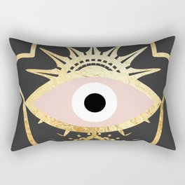 gold foil hamsa hand with blush pink Rectangular Pillow