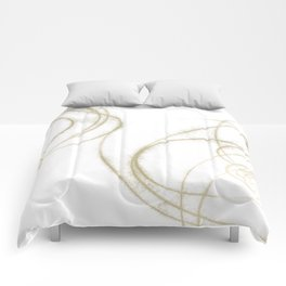 Beige and Brown Minimalist Abstract Line Drawing 3 Comforters