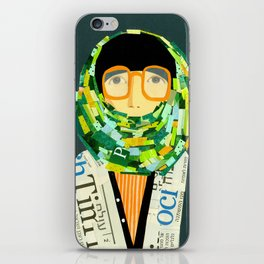 Portrait with glasses iPhone Skin