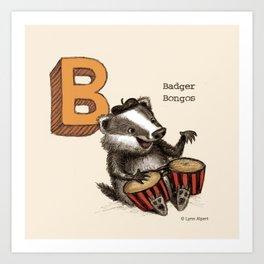 Animals & Instruments ABCs – B Art Print