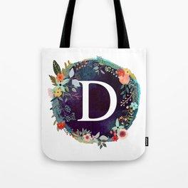 Personalized Monogram Initial Letter D Floral Wreath Artwork Tote Bag