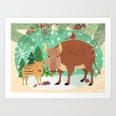 Woodland Boars Art Print