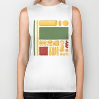 pasta Biker Tanks featuring Pasta Mondrian by Chayground