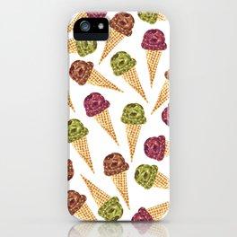 Watercolor Ice Cream Cones iPhone Case