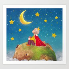 The Little Prince  on a small planet  in  night sky  Art Print