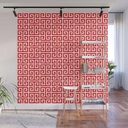 Red and White Greek Key Pattern Wall Mural