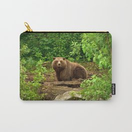 Awe Inspiring Giant Adult Grizzly Bear Observing Photographer In Green Pasture Ultra HD Carry-All Pouch