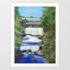 Falls on the river Art Print