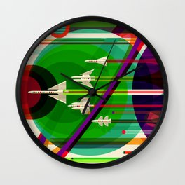NASA Space Saturn Shuttle Retro Poster Futuristic Explorer Wall Clock
