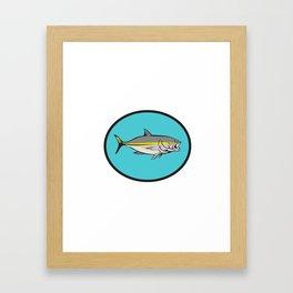 Yellowtail Kingfish Oval Cartoon Framed Art Print