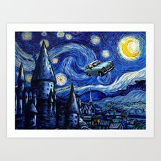 Harry And Ron on The Flying Car Art Print