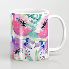 Be Happy, Be Bright, Be You - Pink flowers Coffee Mug