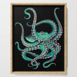 Octopus Tentacles Dance Teal Watercolor Ink Black Serving Tray