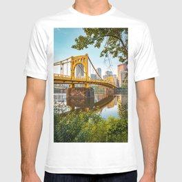 Pittsburgh City Skyline Bridge View Framed T-shirt