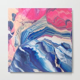 The wave with pink trails Metal Print