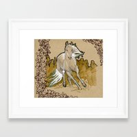 mucha Framed Art Prints featuring  Mucha Horse by emilyszalay