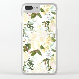 Modern yellow ivory green hand painted roses floral Clear iPhone Case