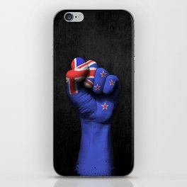 New Zealand Flag on a Raised Clenched Fist iPhone Skin