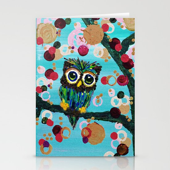 :: Gemmy Owl Loves Jewel Trees :: Stationery Cards