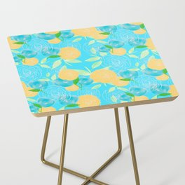 06 Yellow Blooms on Blue Side Table